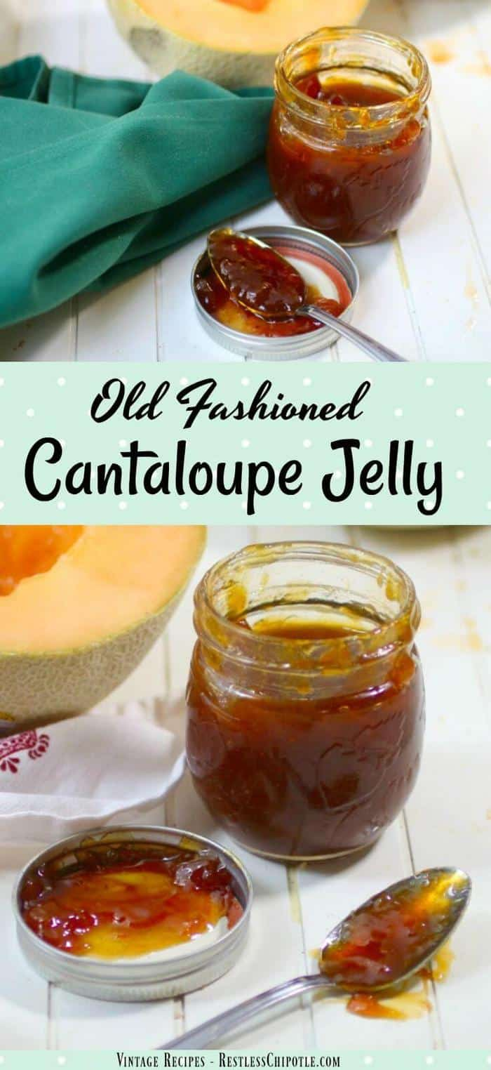 Homemade cantaloupe jelly recipe without pectin is easy to make in the slow cooker in just 2 hours! Delicious freezer jam! From RestlessChipotle.com