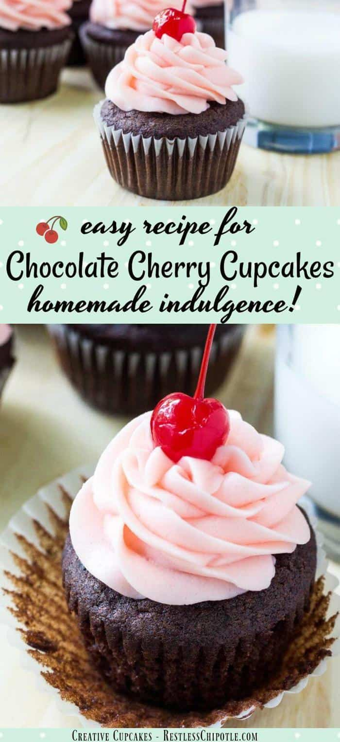 This indulgent chocolate cherry cupcakes recipe is for anyone who loves chocolate covered cherries! Moist chocolate cupcakes are topped with a decadent puff of creamy maraschino cherry buttercream frosting to create a pretty, homemade cupcake that no one can resist!