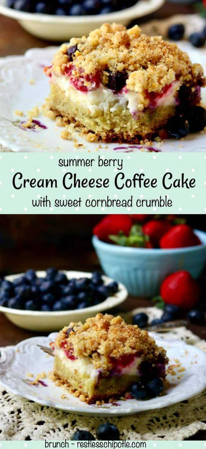 Easy cream cheese coffee cake recipe is stuffed full of rich cream cheese and tangy-sweet ripe summer berries, then topped with a crunchy cornbread crumble that will have you going back for more. Here's a taste of the south in summer all in one delightful mouthful.