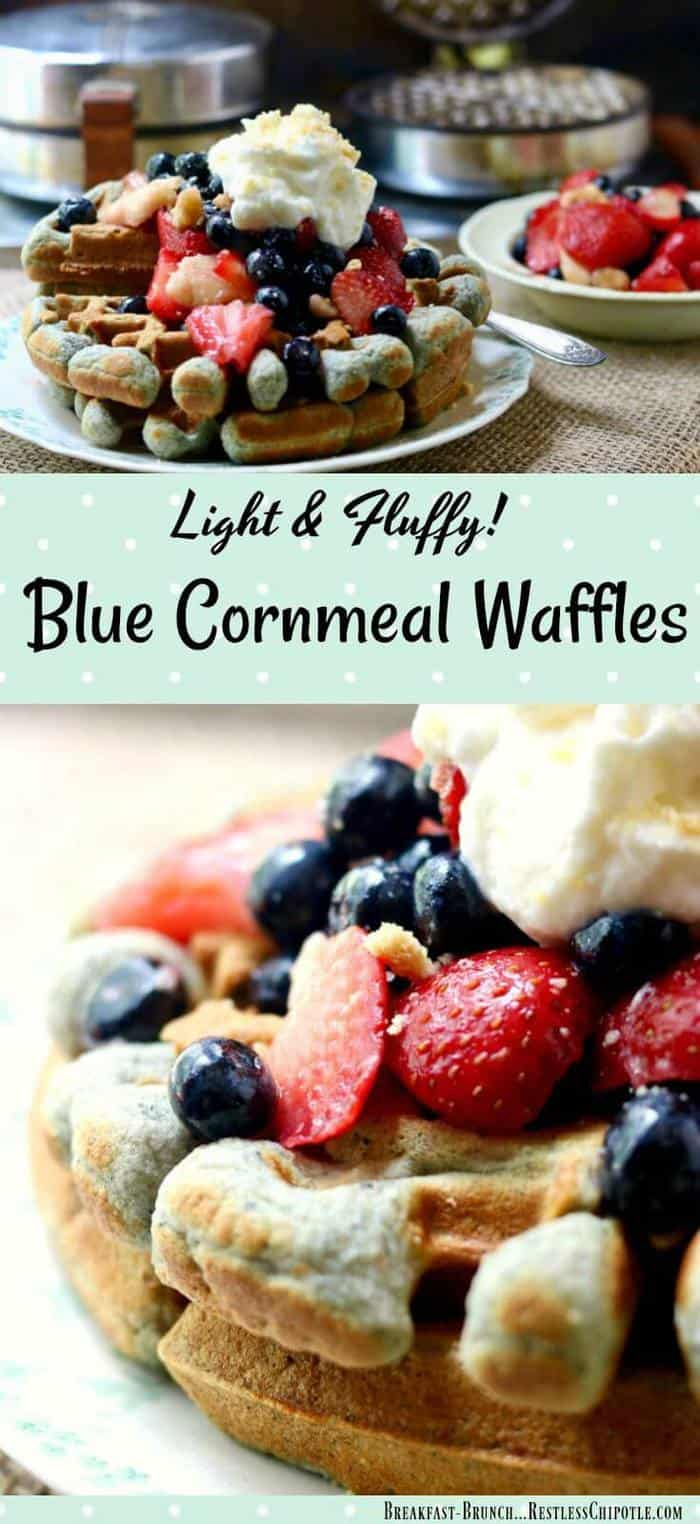 Blue cornmeal waffles are hearty and delicious with a wholesome, nutty flavor that's perfect with everything from maple syrup to fresh fruit! SO easy to make, too! From RestlessChipotle.com