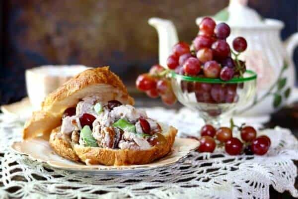 Best chicken salad sandwich recipe ever -with red grapes and toasted pecans. Southern tearoom style. Perfect for croissants. From RestlessChipotle.com