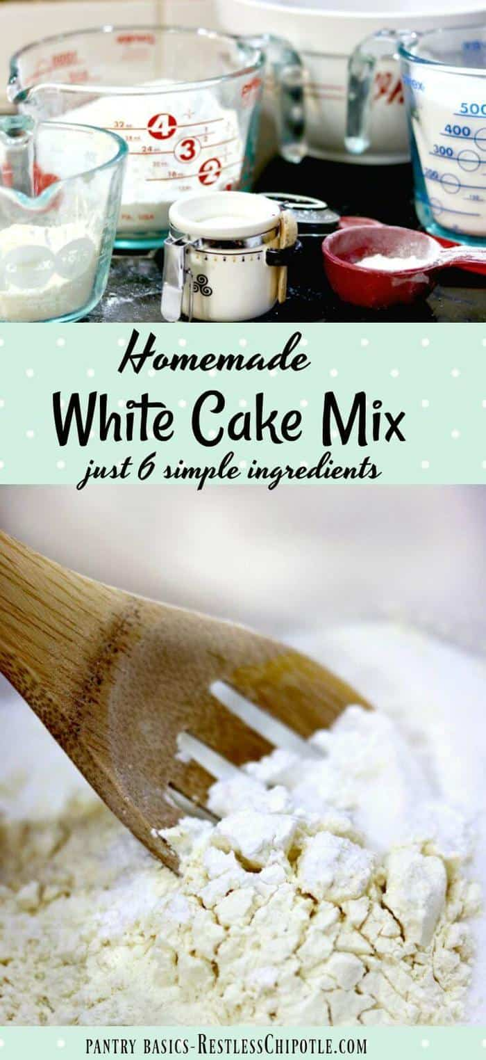 This homemade white cake mix is easy to mix up and stays fresh for several months on your pantry shelf. Saves money and tastes great, too. 6 ingredients. From restlesschipotle.com