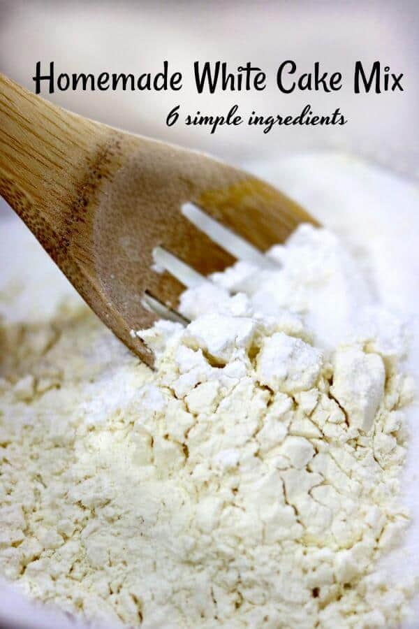 This homemade white cake mix is easy to mix up and stays fresh for several months on your pantry shelf. Saves money and tastes great, too. 6 ingredients!