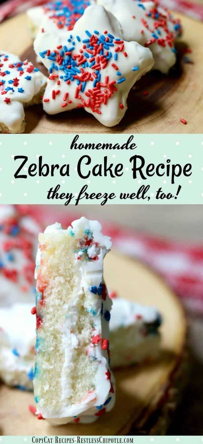 This Little Debbie copycat Zebra Cake recipe is so easy & addictively good.The little homemade snack cakes are perfect for school lunches & they freeze well. From Restlesschipotle.com