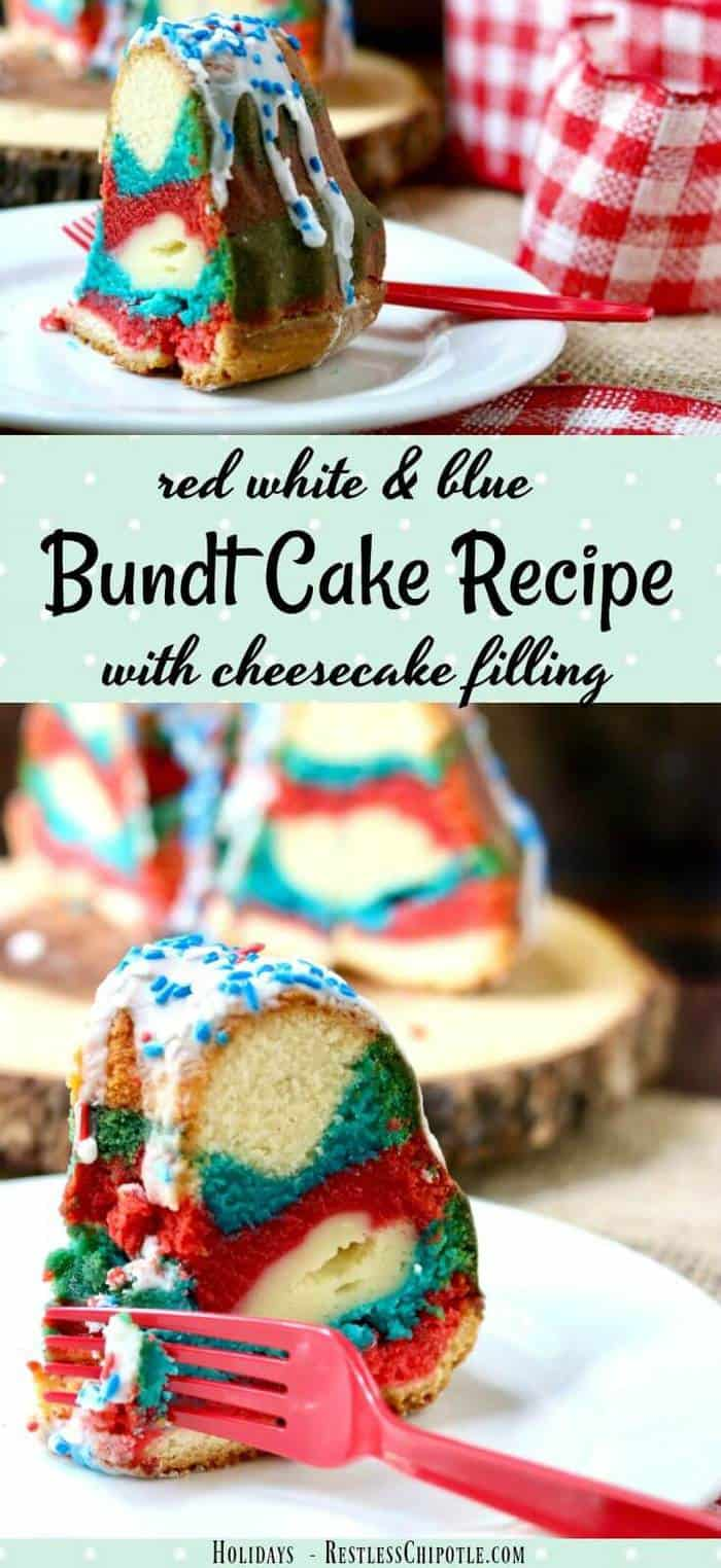 Perfect for summer holidays, this tangy red white & blue bundt cake recipe is sweet and delicious with a tunnel of cheesecake filling right through the center. So easy and definitely  memorable! From RestlessChipotle.com