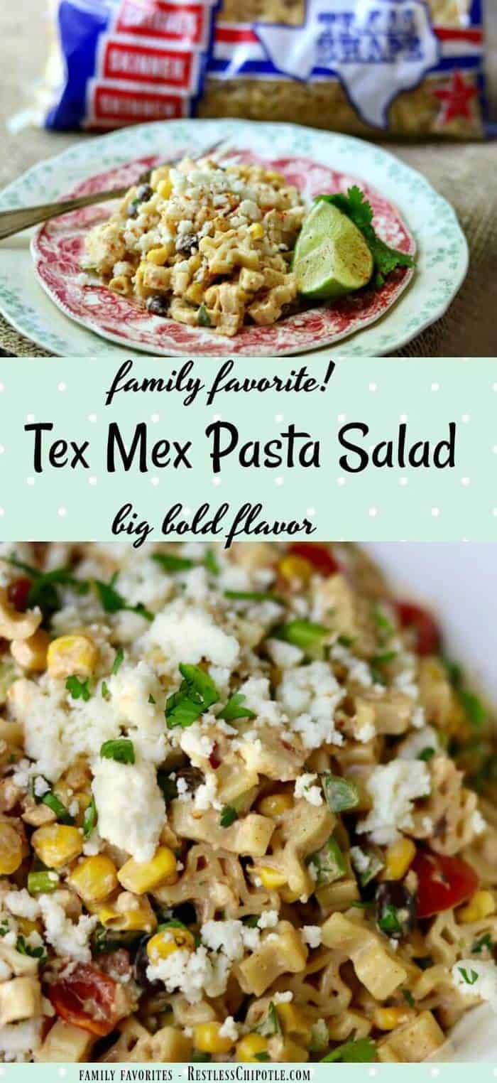Quick and easy, this zesty Tex Mex pasta salad is the perfect side to grilled meats. Just right for potlucks and sharing with friends! From RestlessChipotle.com