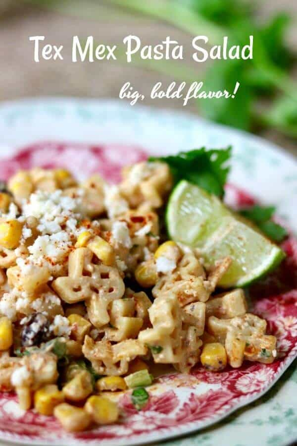 Tex Mex pasta salad is SO full of spicy southwestern flavor! Easy recipe from Restlesschipotle.com