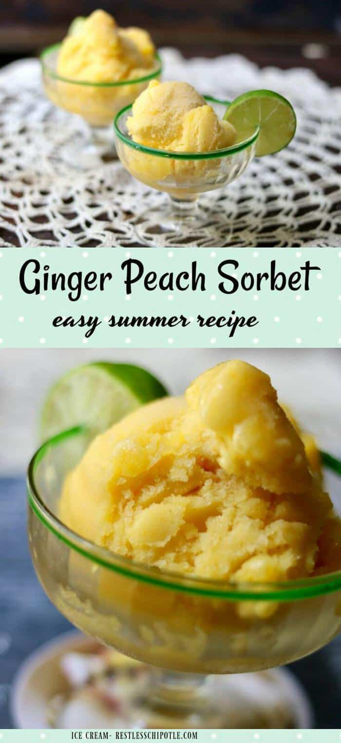Fresh ginger peach sorbet recipe is unbelievably quick and easy to make! Juicy, ripe peach flavor gets a zing from the warm ginger and tangy lime. From RestlessChipotle.com