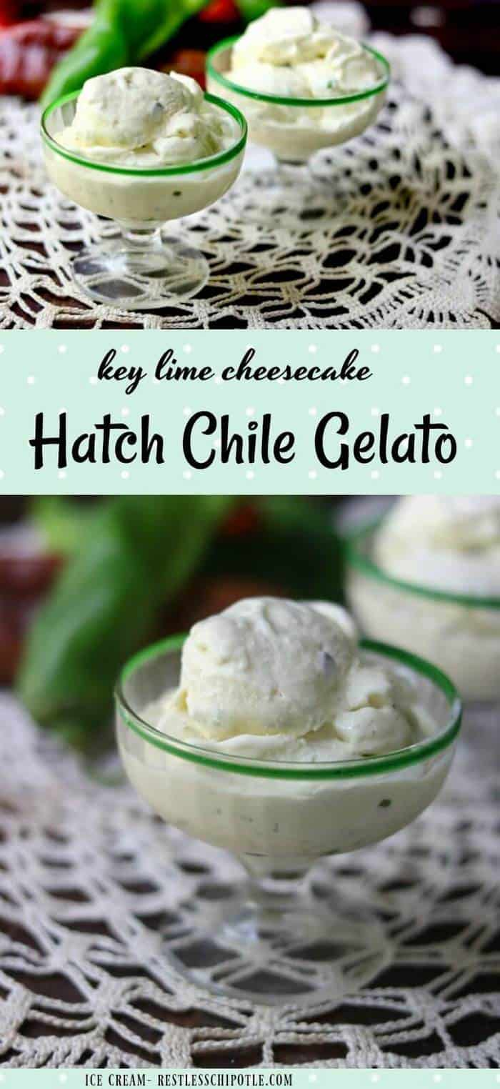 This Hatch Chile Gelato recipe is ultra-rich and creamy with the tangy flavor of key lime cheesecake and a zesty punch of smoky Hatch Chiles. It\'s quick and easy, too! From RestlessChipotle.com