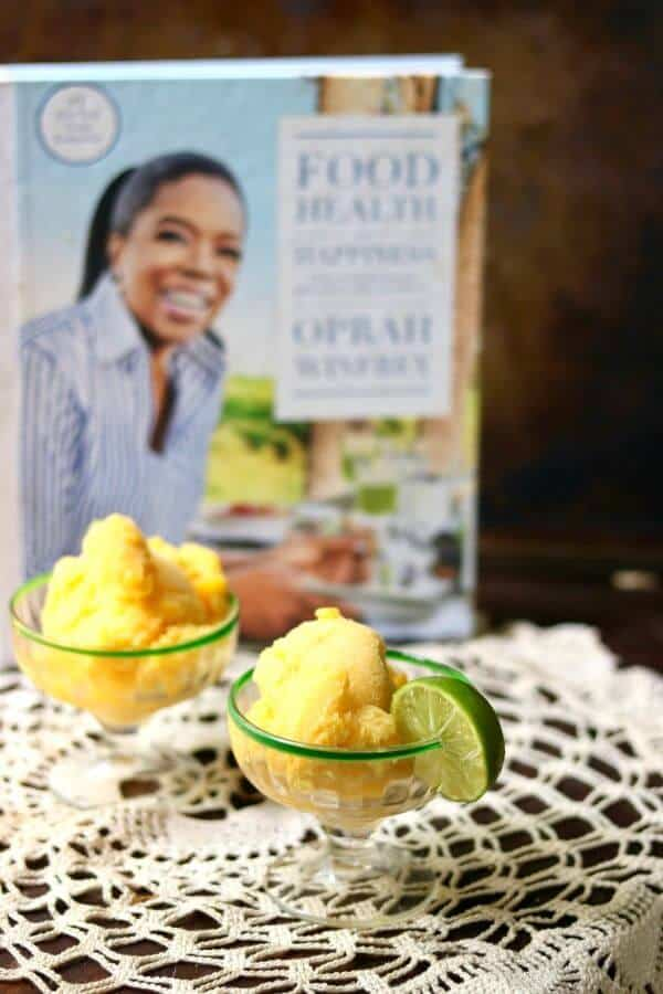 Quick and easy ginger peach sorbet is made with fresh peaches! So easy! From RestlessChipotle.com