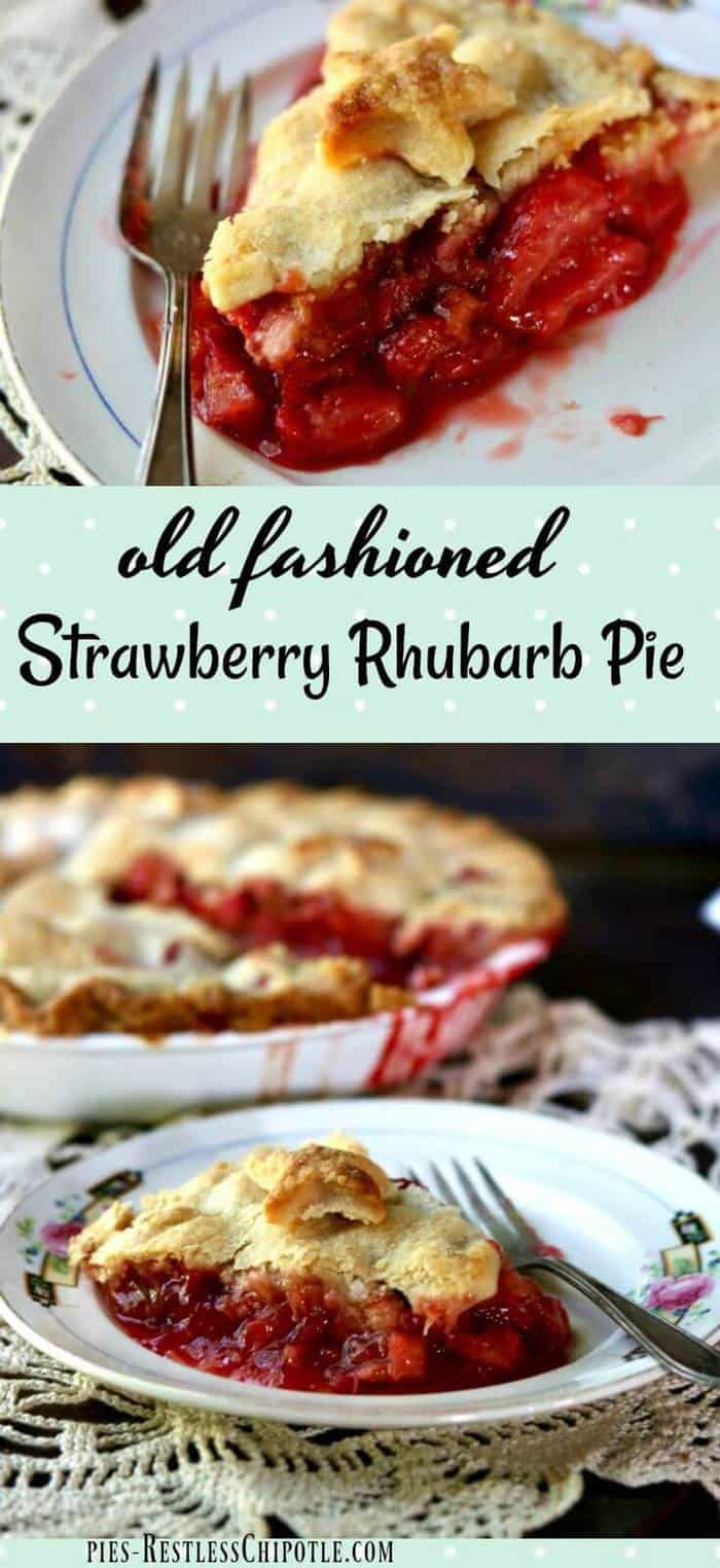 Old fashioned strawberry rhubarb pie recipe is a perfect combination of sweet and tangy with a gorgeous bright crimson filling surrounded by buttery, golden brown pastry. This is a blue ribbon winner for sure! We love it! From RestlessChipotle.com