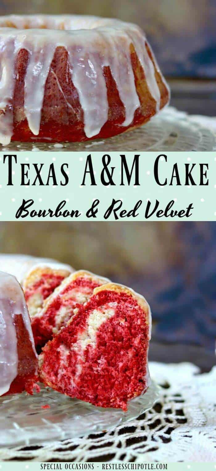 Texas A & M cake recipe is a swirl of red velvet and bourbon flavors covered with a thick, rich white chocolate glaze. This bundt cake is SO good anytime! From RestlessChipotle.com