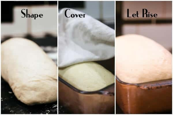 1:Shape the bread dough into a smooth loaf. 2: Cover and let rise until double. 3: Brush with butter and bake