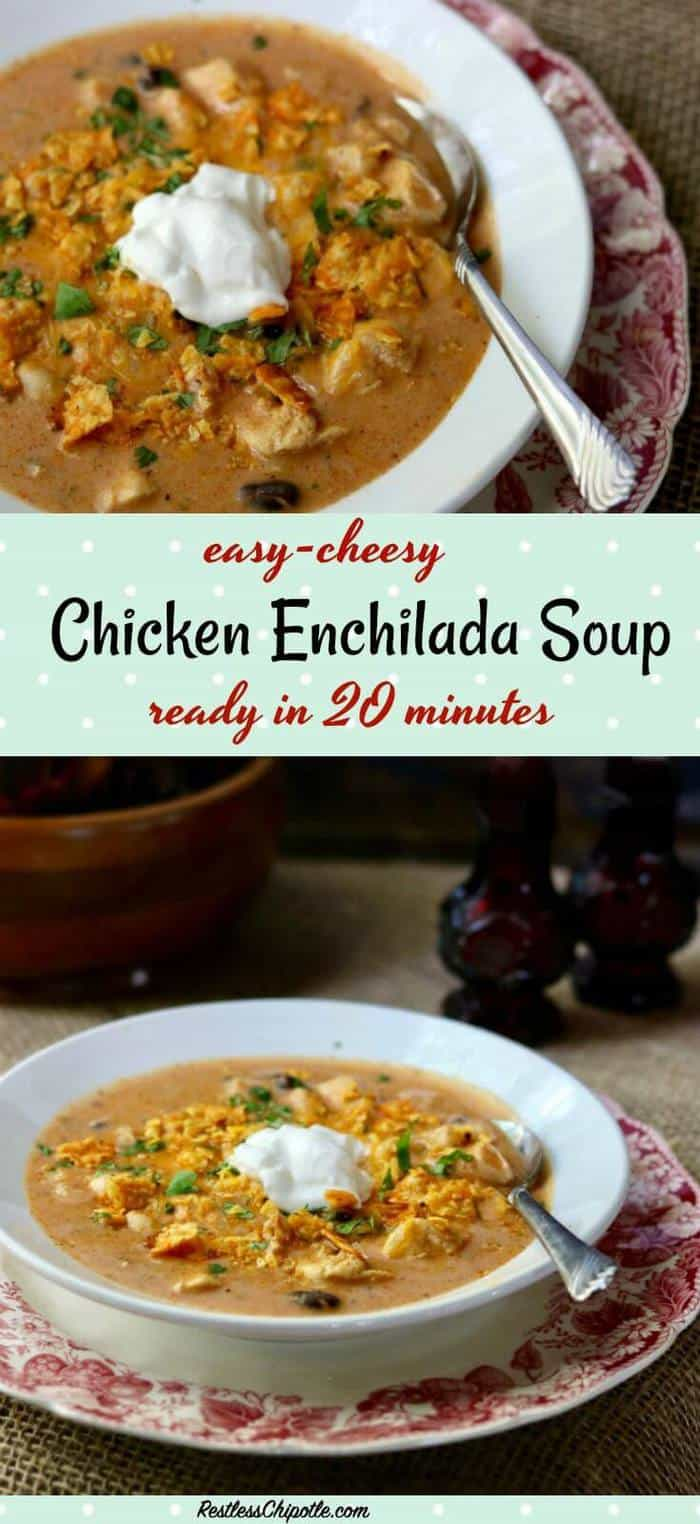 As the weather changes and cools down I look for cozy dinner ideas like this easy, cheesy chicken enchilada soup recipe. Creamy comfort food in 20 minutes. From RestlessChipotle.com