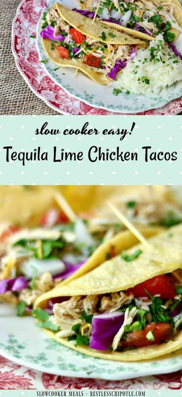 Slow cooker tequila lime chicken tacos is an easy Tex-Mex dinner recipe that cooks right in your crock pot all day long. Use chicken thighs or breast for a deliciously easy weeknight meal! Perfect for a weekend taco bar! From RestlessChipotle.com