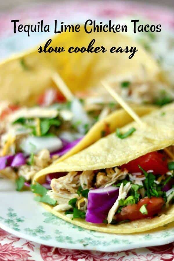 Yummy slow cooker tequila lime chicken tacos is an easy Tex-Mex dinner recipe that cooks right in your crock pot all day long. Use chicken thighs or breast for a deliciously easy weeknight meal! Perfect for a weekend taco bar! From RestlessChipotle.com