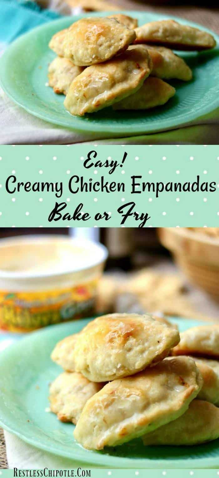 Easy chicken empanadas recipe makes these quick game day snacks that you can either bake or fry. This empanadas recipe is filled with a creamy, spicy chicken and cheese mixture that's perfect football party food! From RestlessChipotle.com