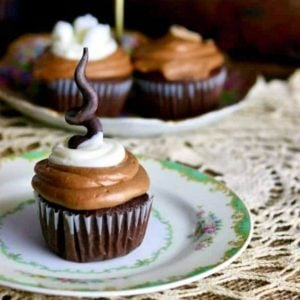 chocolate cupcakes on a green plate
