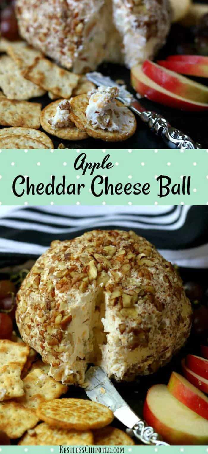 Easy apple cheddar cheese ball recipe is sumptuously full of fall flavors from tangy apple and maple to sharp cheddar and toasted pecans. Easy holiday appetizers! From RestlessChipotle.com