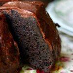 Closeup of a chocolate stout cake slice.