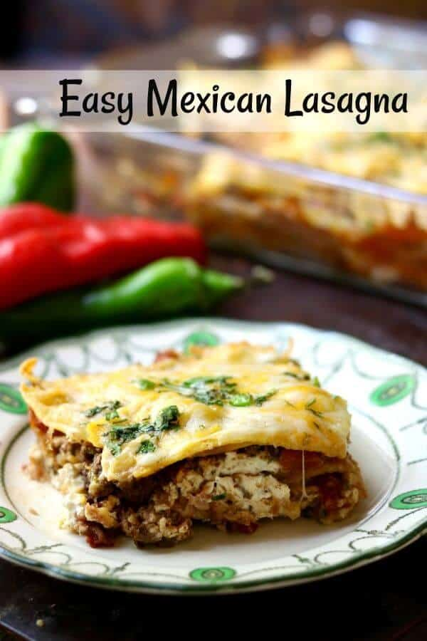 Easy Mexican lasagna recipe cut and on a white plate- title image