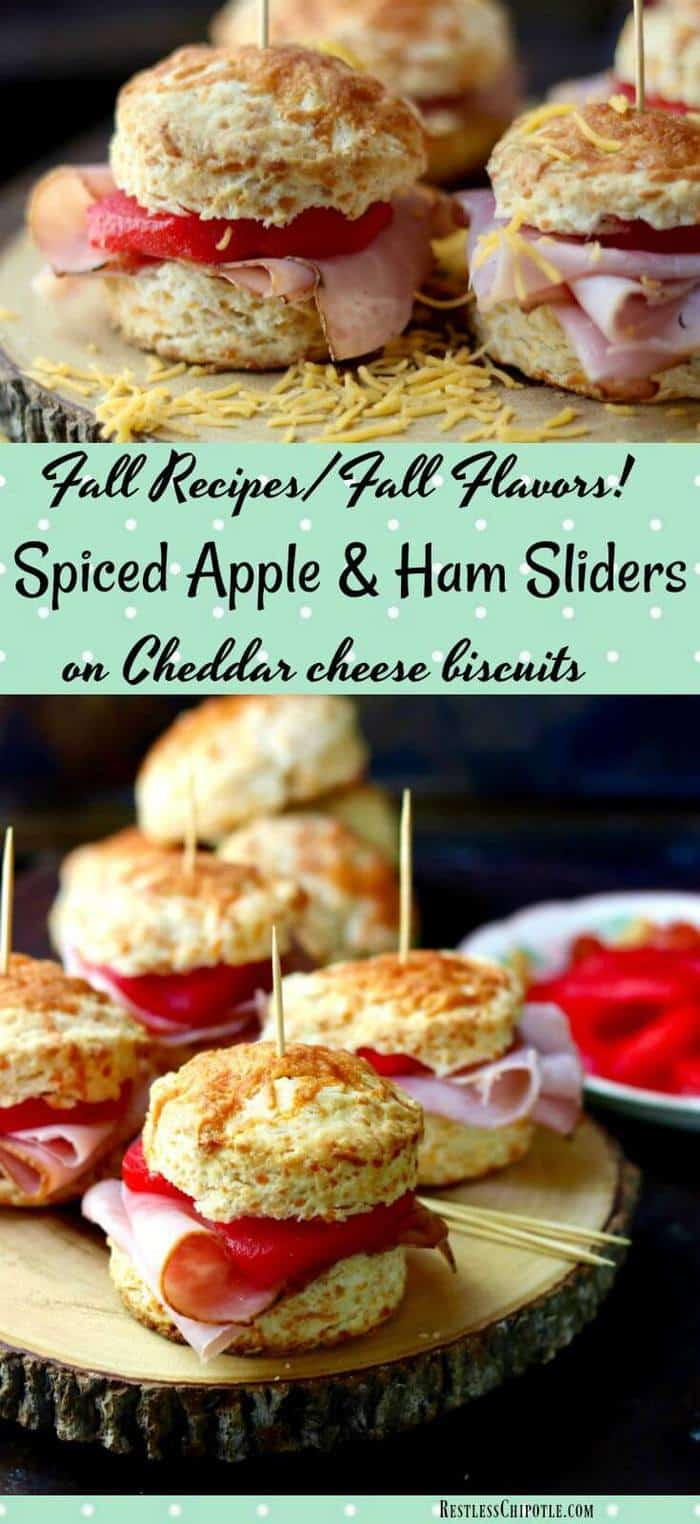Embrace Fall recipes & flavors with these easy Spiced Apple & Ham Sliders on Cheddar Biscuits!  A quick chipotle aioli gives the sandwich a little extra heat. Perfect for game day get-togethers and lazy autumn afternoons. From RestlessChipotle.com