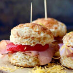 Three ham sliders on a tray for the feature image.