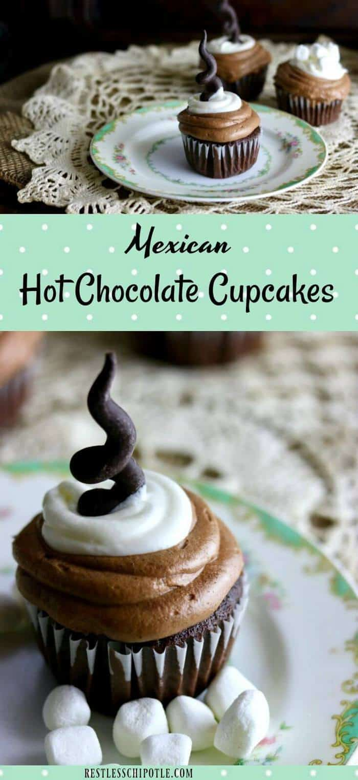 Warm cinnamon and deep chocolate flavors give these Mexican Hot Chocolate Cupcakes a unique, spicy chocolate flavor reminiscent of the Mexican hot chocolate we drink in Texas. #Choctoberfest