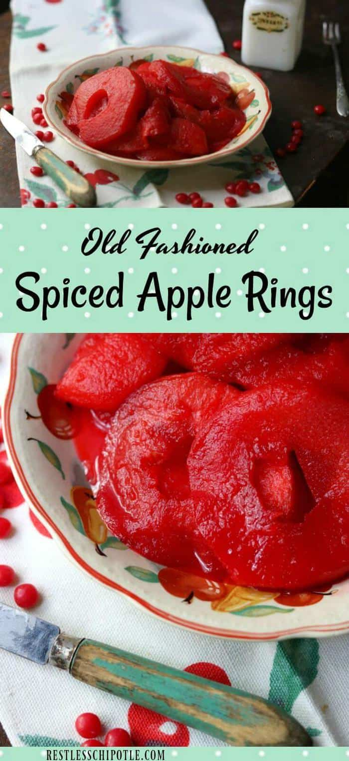 Spiced apple rings recipe is so easy! Tangy apples rings are simmered in a bright cinnamon syrup made with red hots - pears can be substituted for apples in this holiday treat. From RestlessChipotle.com