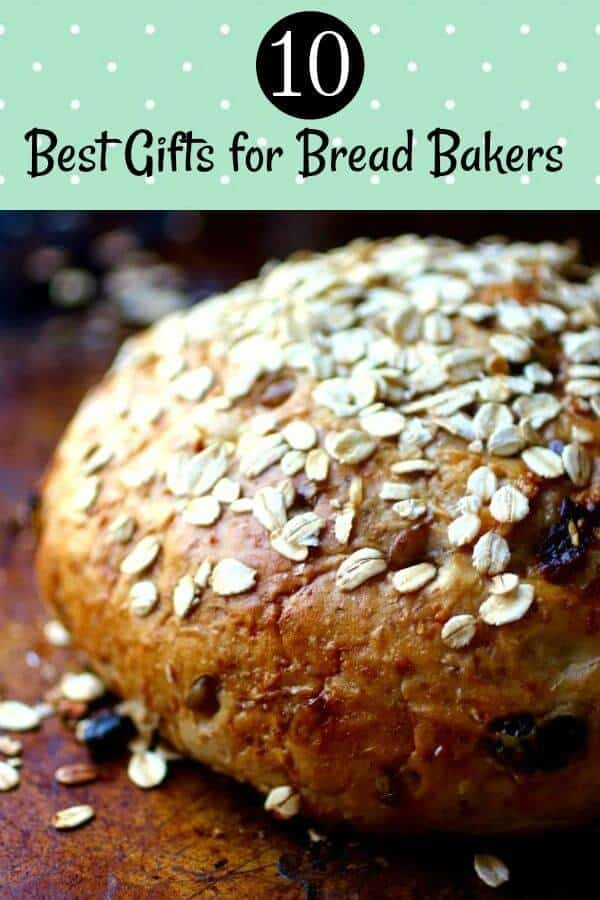 Round loaf of bread with rolled oats on the crust - title image for 10 best gifts for bread bakers