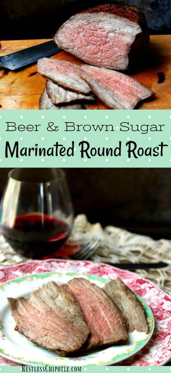 Tender beef round roast is marinated in a mixture of beer, brown sugar, and dijon mustard for 12 hours then roasted in a slow oven until it\'s just right. Tender and delicious - leftovers are great for roast beef sandwiches #certifiedangusbeef #beefroastmarinade #bestroastbeef from RestlessChipotle.com