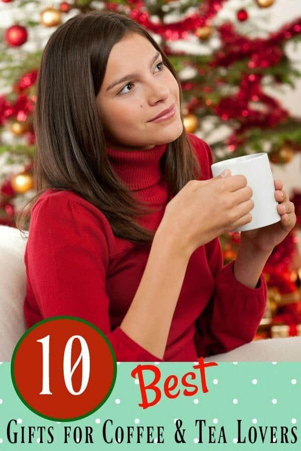 image of a woman in a red sweater with coffee in front of a Christmas tree. Best gifts for coffee lovers -Title image for article