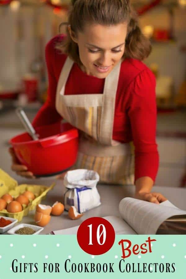 woman in an apron holding a red mixing bowl and looking at a cookbook. Eggs are to the left - title image for best gifts for cookbook collectors