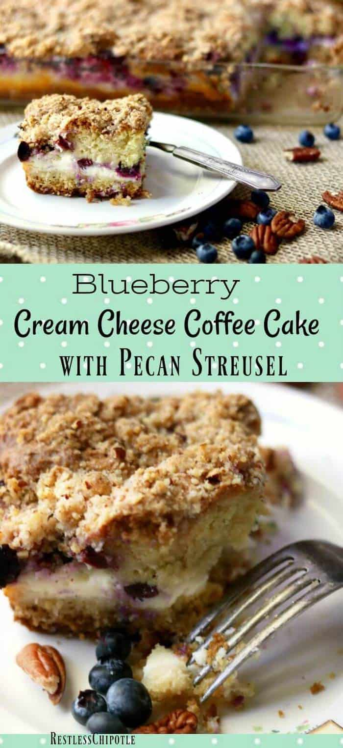 Buttery blueberry cream cheese coffee cake recipe is perfect for holiday brunches.Layers of tender cake, blueberries, and cream cheese are topped with a pecan streusel crumble. #coffeecake #brunch #blueberries From RestlessChipotle.com