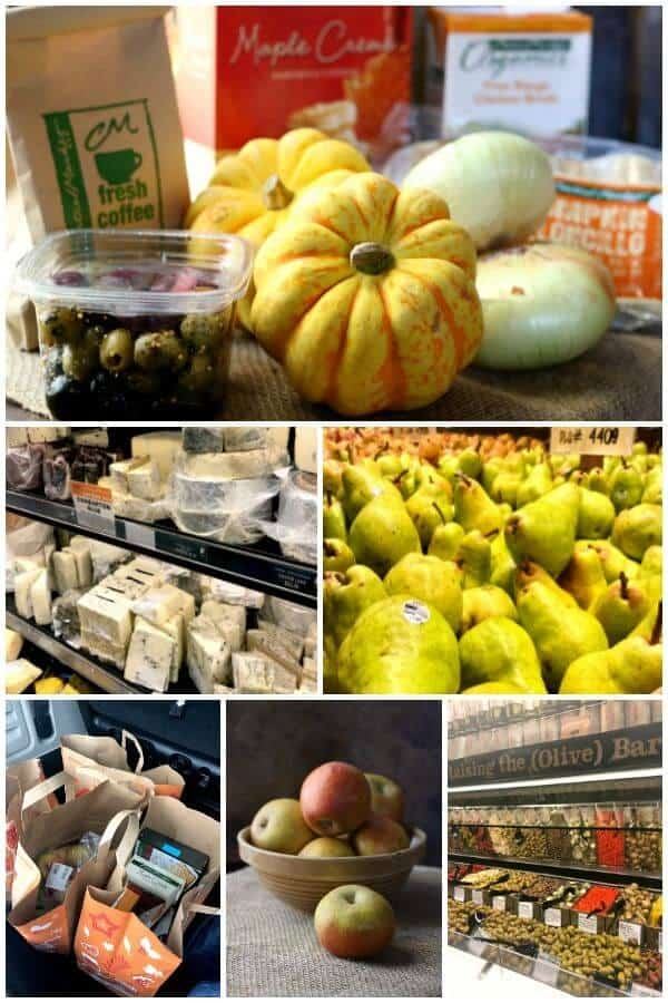 Collage of images from Central Market including ingredients in the Southern corn pudding