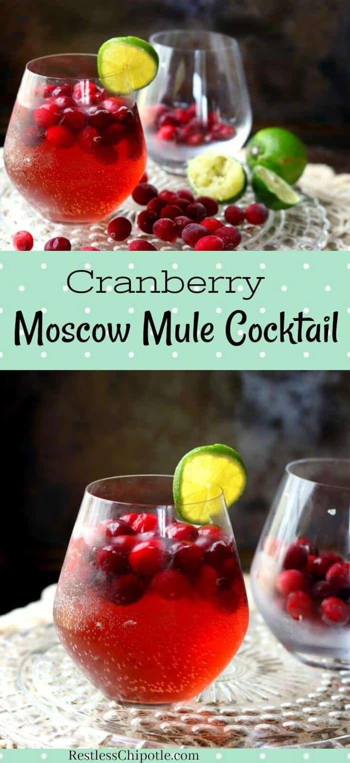 The cranberry Moscow mule is a seasonal twist on the ever popular Moscow Mule. Orange vodka and cranberries give this vodka cocktail plenty of holiday flavor and festive color.  #vodkacocktail #wintercocktail #holiday #christmas #cranberry #vodka #recipe #foracrowd #punch