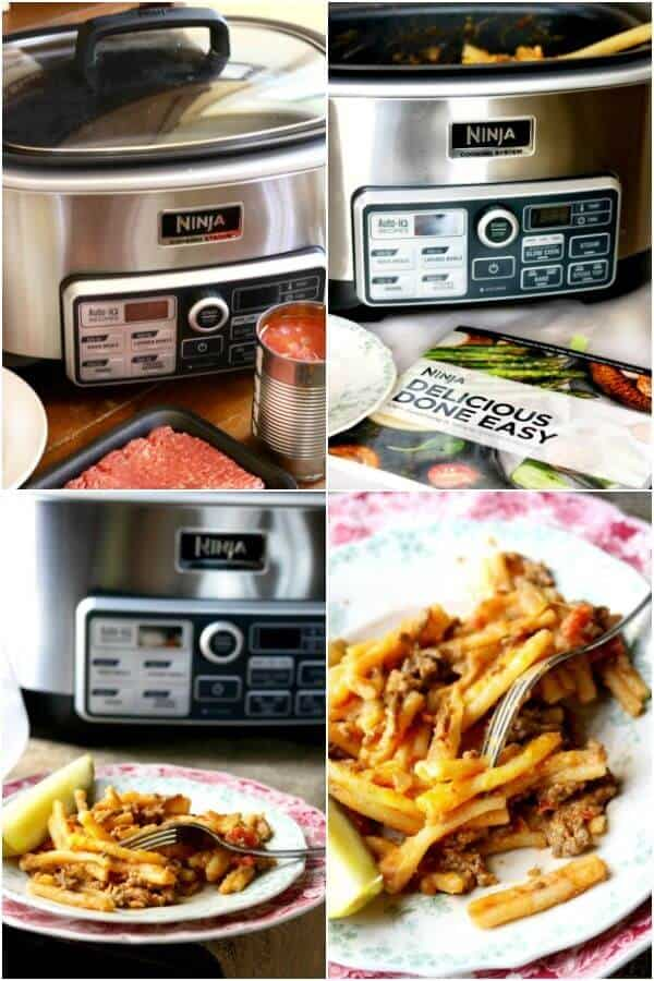 Collage of images containing the Ninja® Cooking System with Auto-iQ™ and cheeseburger pasta skillet recipe.