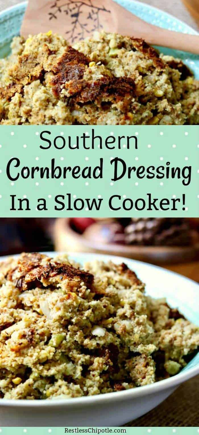 Southern Cornbread Dressing is an easy recipe with plenty of old fashioned flavor. It's the best recipe around because you make it in a slow cooker! Unbelievably light and fluffy - you've got to try this! From RestlessChipotle.com #dressing #southernrecipes #Thanksgiving #sidedishes #slowcooker