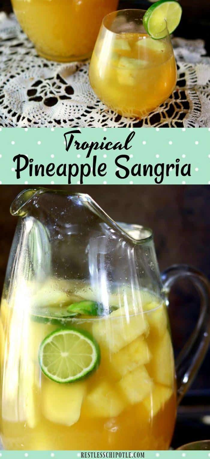 Tropical pineapple sangria is an easy cocktail with the sunny flavors of pineapple and coconut! So easy to make - plus tips for perfect sangria every time! #sangria #pineapplecocktails #rumcocktails #tropicalcocktails