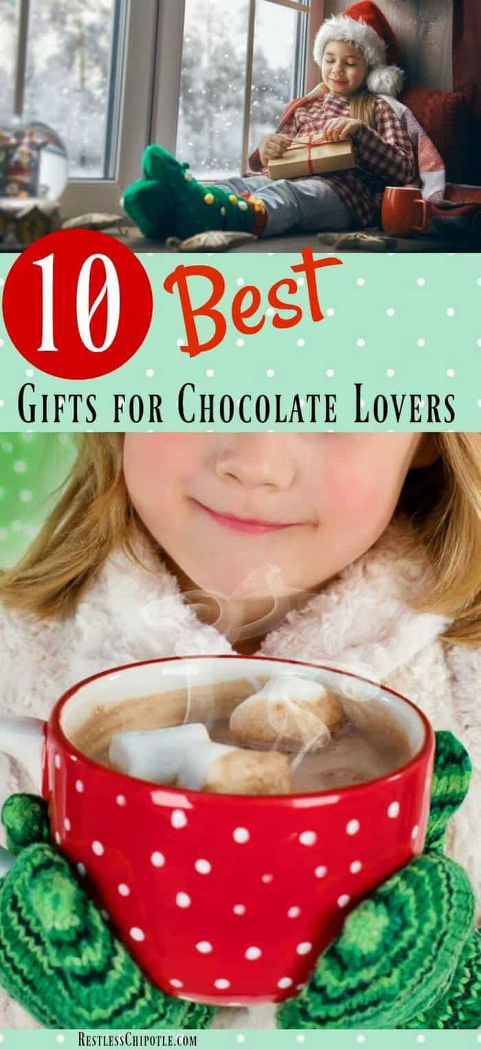 Chocolate is the perfect gift for any occasion! This gift guide of the 10 best gifts for chocolate lovers includes both edibles and chocolate related items. You\'ve got a chocolate lover in your life that will love these!! From RestlessChipotle.com #chocolate #giftguide #christmas #chocolatelovers #holiday #chocolategifts #chocoholic