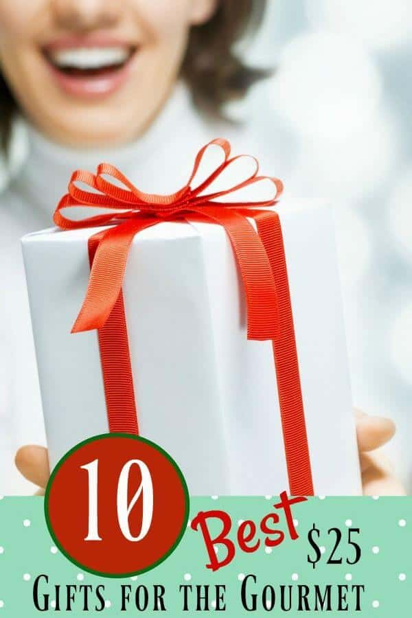 Woman holding white package with red bow - title 10 best gifts for the gourmet under $25