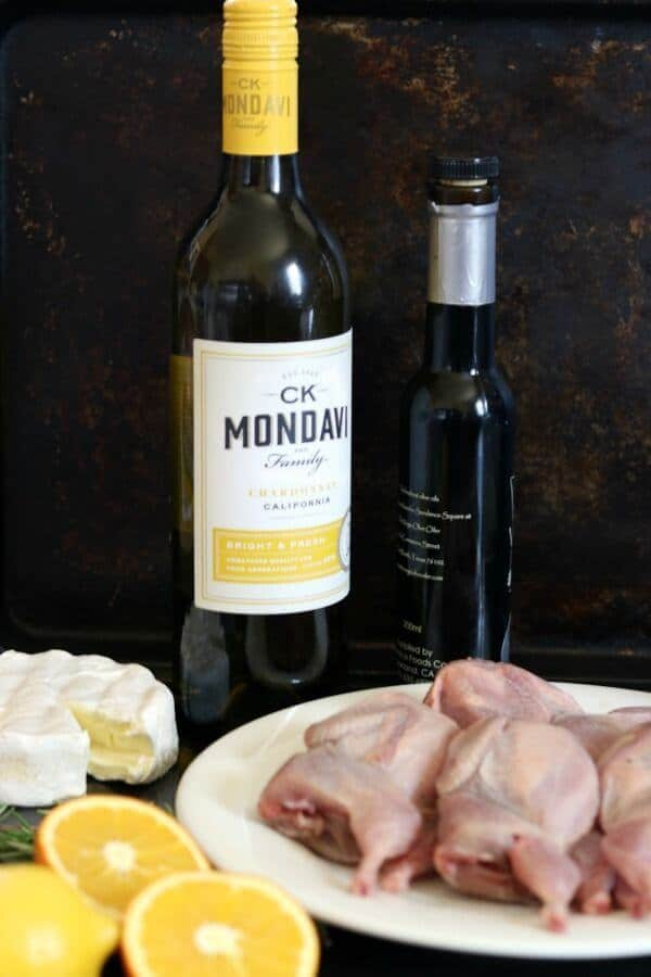 ingredients for roast quail and a link to ck mondavi and family website