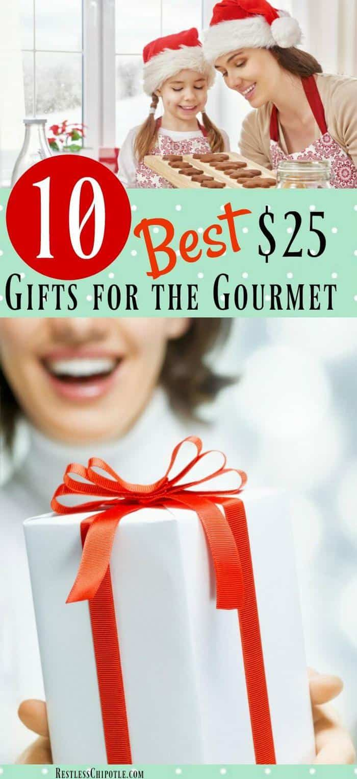 If you\'re looking for the best gifts for the gourmet in your life, but your bank account is starting to wheeze from Christmas shopping overload you\'ll love this list of 10 gifts for your favorite foodie -- all under $25! From RestlessChipotle.com #giftguide #giftideas