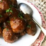 honey garlic meatballs image from above with spoon. recipe box square image