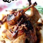 Whole, oven roasted quail on a plate with text overlay for Pinterest.