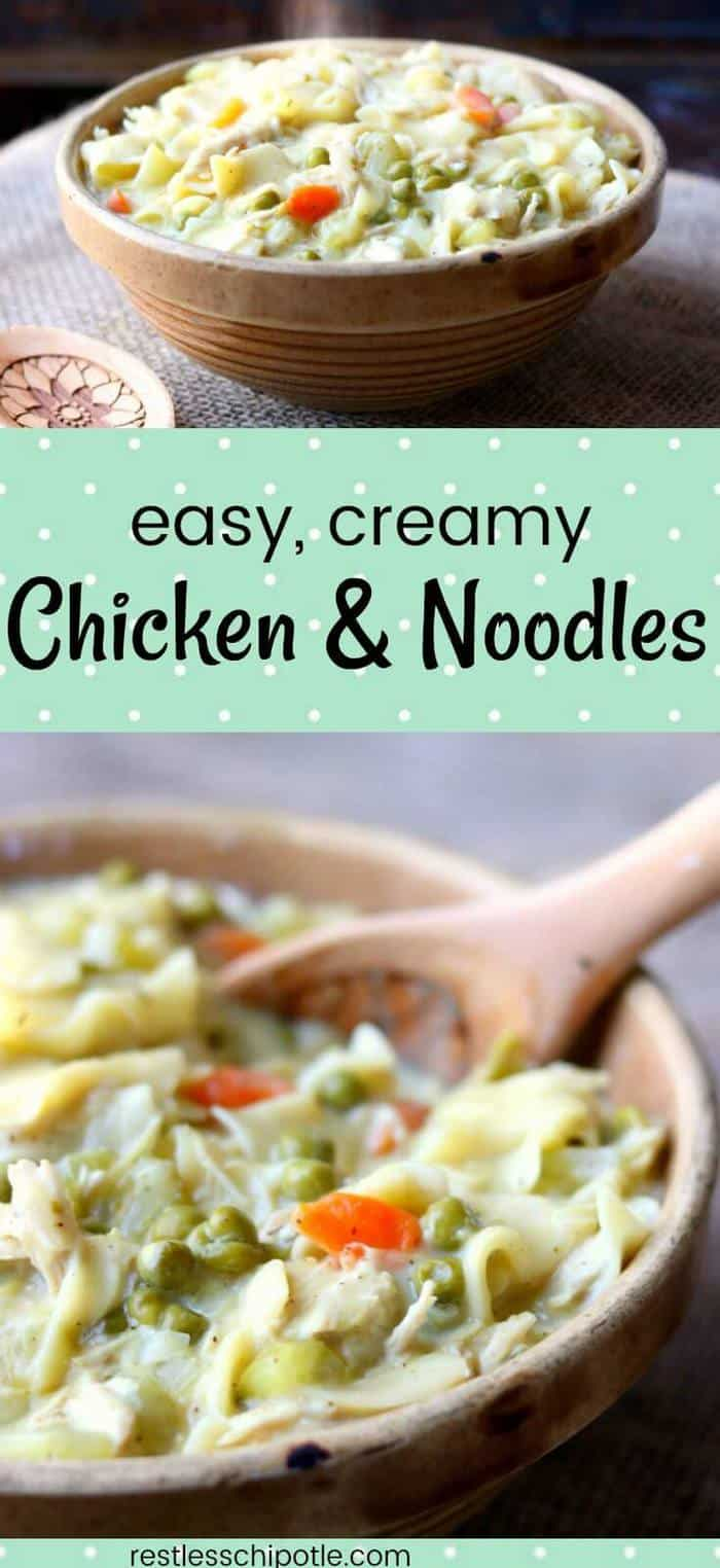 There\'s nothing that says comfort food in big, flashing, neon letters better than this easy chicken and noodles recipe! This chicken noodle casserole can be finished in the oven with a crispy topping or on top of the stove for old fashioned, creamy chicken and noodles goodness.  from restlesschipotle.com #chickenandnoodles #chickencasseroles #easychickenrecipes
