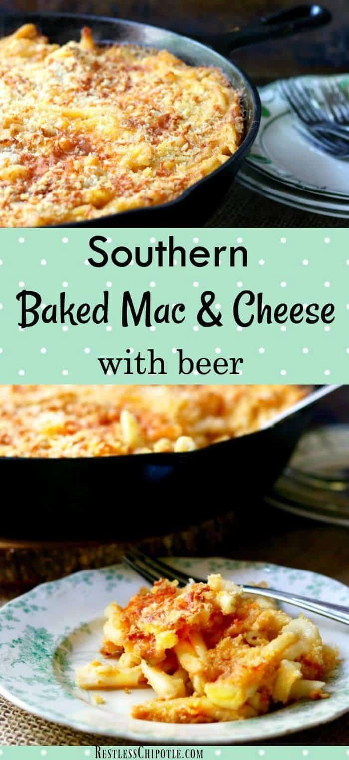 Southern baked macaroni and cheese with beer is creamy, gooey-cheesy with a crispy topping like the old fashioned mac and cheese recipe your kids love! from RestlessChipotle.com #southernmacaroniandcheese #bakedmacaroniandcheese #easymacaroniandcheese
