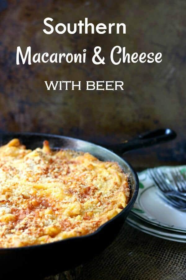 Southern baked macaroni and cheese with beer in an iron skillet ready to be served - title image