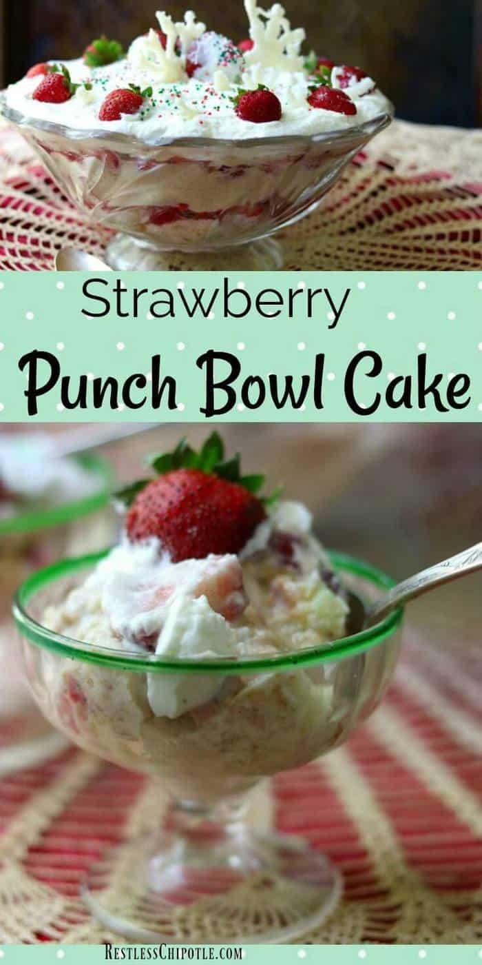 This strawberry punch bowl cake recipe is a classic Southern dessert. It\'s so quick and easy you won\'t want to wait for a special occasion to make it! A splash of tequila adds subtle flavor to the cake and a little sour cream in the whipped cream keeps it from being too sweet. You might know this traditional Southern recipe as strawberry trifle. #strawberries #Southern #recipes