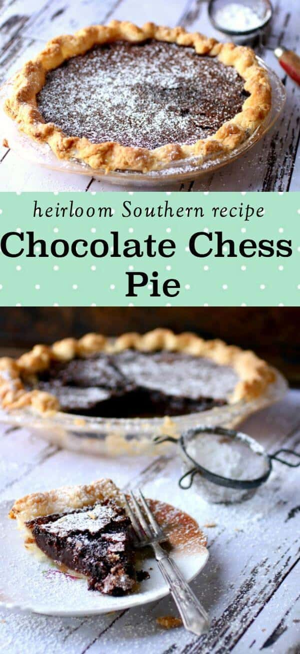 Chocolate chess pie is a Southern recipe that is undeniably the most chocolate of chocolate desserts. It's almost like eating brownie batter in a butter crust - talk about decadent! #pierecipes #chocolate #southernfood